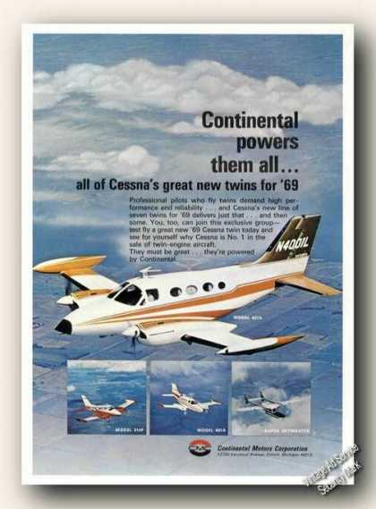 Cessna 421a Twin In Flight Photo Continental (1969)