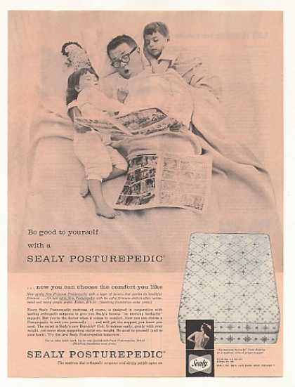 Sealy Posturepedic Mattress Dad Kids Sleeping (1961)