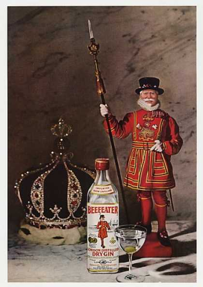 Beefeater Dry Gin Character Bottle Crown Photo (1968)