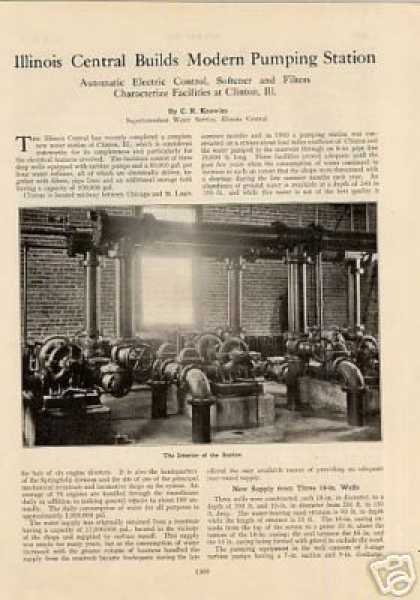 """Illinois Central Builds Modern Pumping Station"" (1924)"