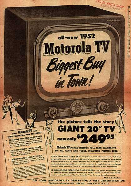 Motorola's Television – All-new 1952 Motorola TV Biggest Buy in Town (1952)