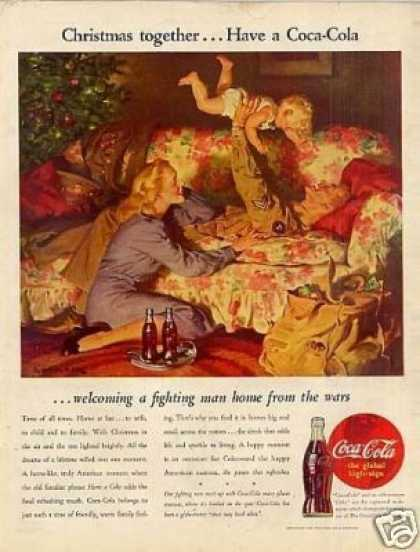 "Coca-cola Ad ""Welcoming a Fighting Man... (1945)"