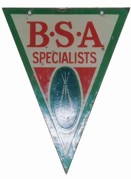BSA Specialists Cycles Motorcycles Sign