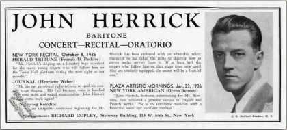 John Herrick Photo Concert Recital Oratorio (1936)