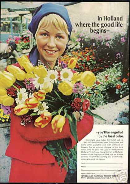 Netherlands Holland Travel Tulips Pretty Woman (1967)