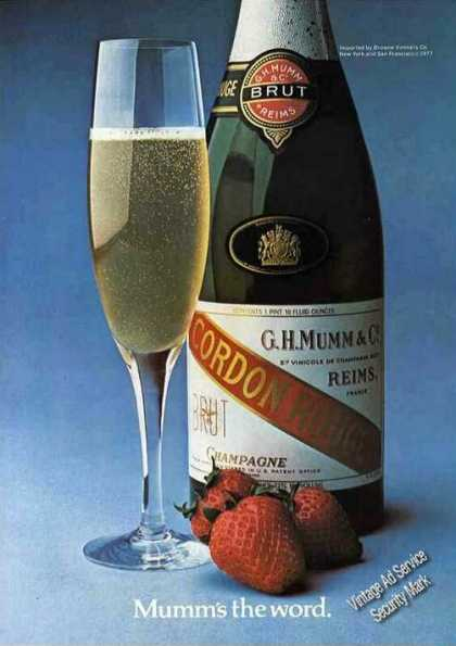 """Mumm's the Word."" Cordon Rouge Champagne (1977)"