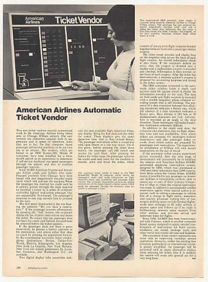 American Airlines Automatic Ticket Vendor Article (1970)