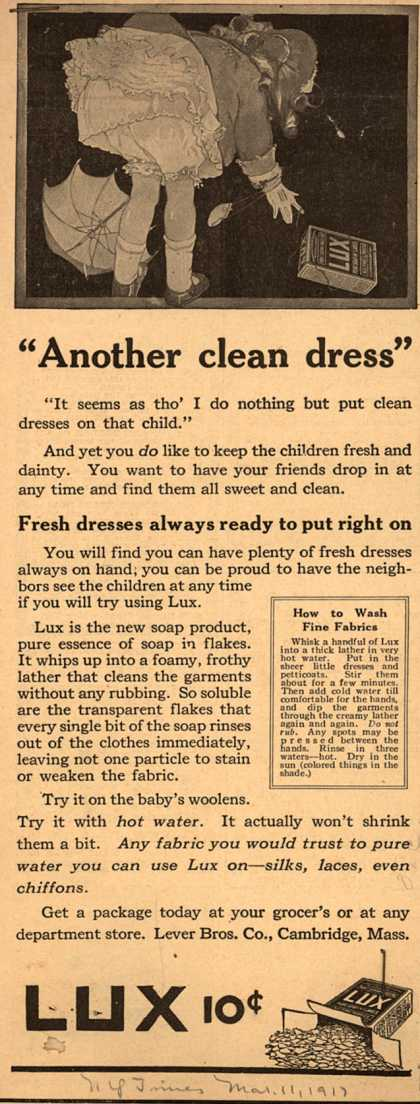 "Lever Bros.'s Lux (laundry flakes) – ""Another clean dress"" (1917)"