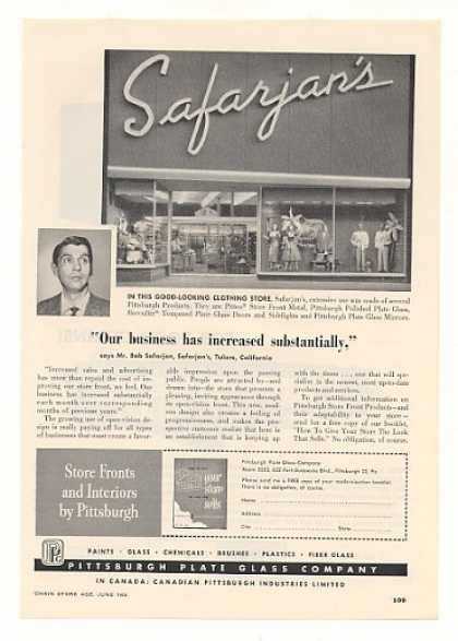 Safarjan's Clothing Store Tulare CA PPG Glass (1955)