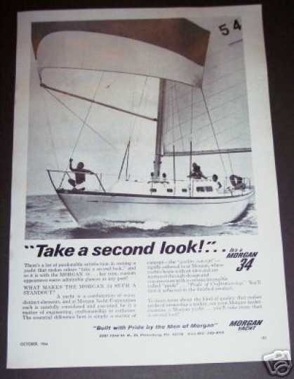 Original Morgan 34 Yacht Sailboat Boat Photo (1966)
