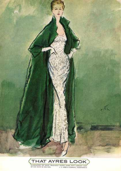 Ayres Silk Velvet Beaded Gown & Carriage Coat (1962)