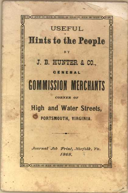 J. B. Hunter & Co.'s Various businesses in Portsmouth – Useful Hints to the People (1868)
