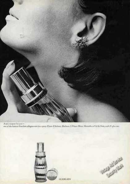 "Guerlain Colognes Now a Spray ""Weapon for You"" (1964)"