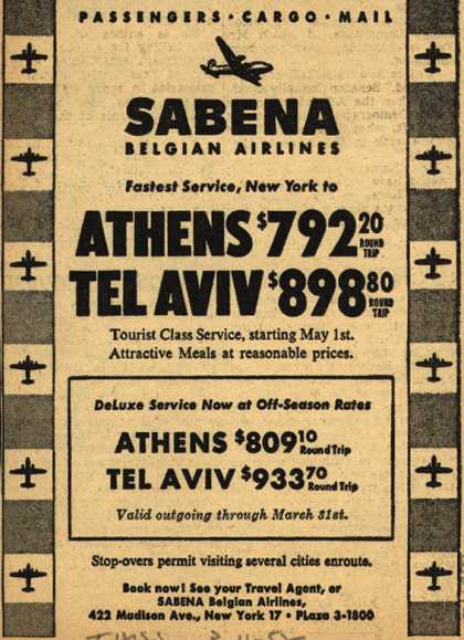 Sabena Belgian Airline&#8217;s Athens, Tel Aviv &#8211; Sabena Belgian Airlines, Fastest Service, New York to Athens, Tel Aviv (1952)