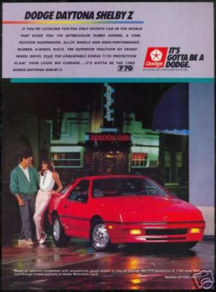Red Dodge Daytona Shelby Z Vintage Photo (1988)