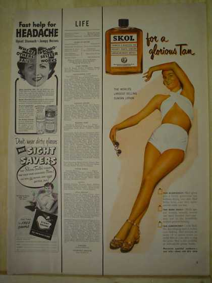 Skol Tanning Lotion for a glorious tan (1950)
