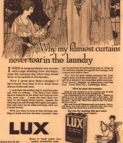 Lever Bros.'s Lux (laundry flakes) – Why my filmiest curtains never tear in the laundry (1918)