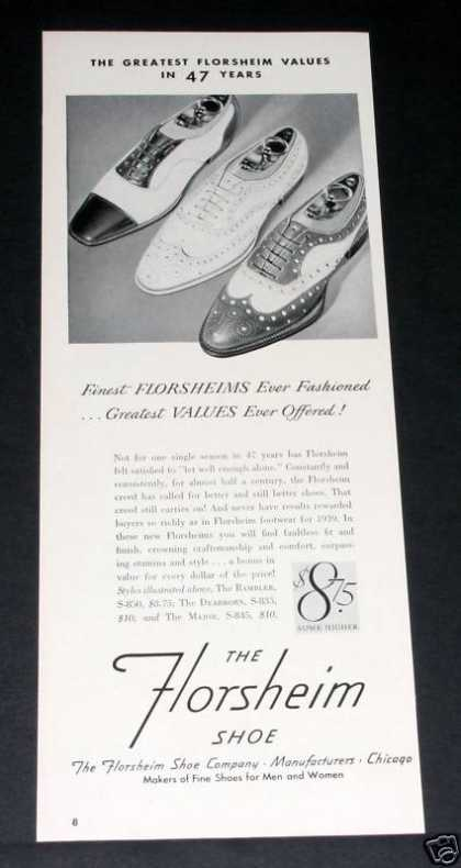 Old , Florsheim Shoes, Great Value (1939)