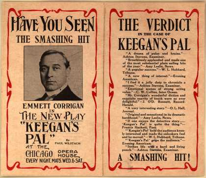 "Chicago Opera House's Keegan's Pal – Have You Seen The Smashing Hit ... Emmet Corrigan In The New Play ""Keegan's Pal"""
