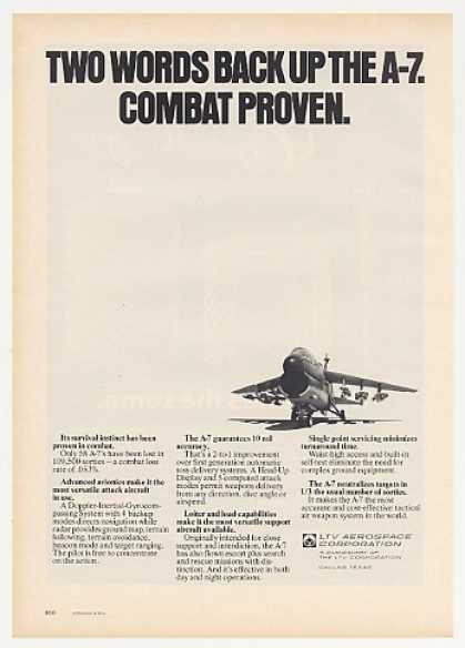 LTV Aerospace A-7 Aircraft Combat Proven Photo (1974)