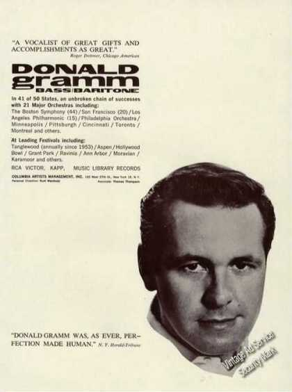 Donald Gramm Photo Baritone Rare Concerts Trade (1961)