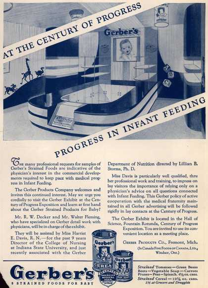 Gerber Products Division, Fremont Canning Company's Gerber Strained Foods for Baby – At the Century of Progress-Progress in Infant Feeding (1933)