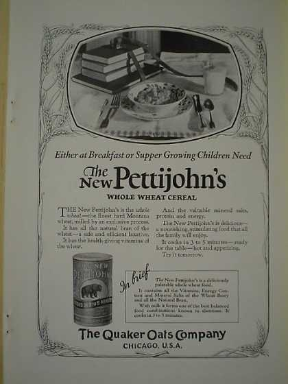 Quaker Oats Pettijohn's whole wheat cereal Chicago Ill (1926)