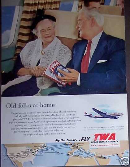 Old Folks Fly Twa Airlines Photo (1953)