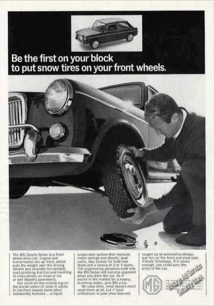 Mg Sports Sedan First Snow Tires On Front Wheel (1966)