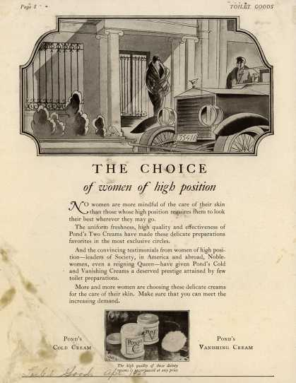 Pond's Extract Co.'s Pond's Cold Cream and Vanishing Cream – The Choice of women of high position (1925)