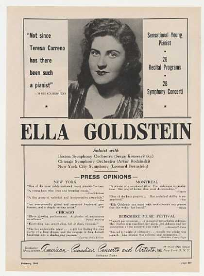 Pianist Ella Goldstein Photo Booking (1948)