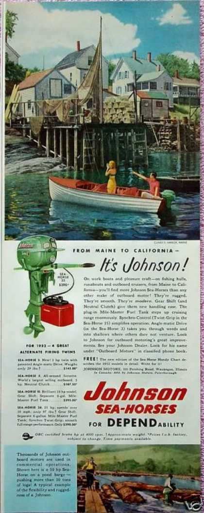 Johnson Sea-Horse Out Board Motor Cundys Harbor Me (1952)