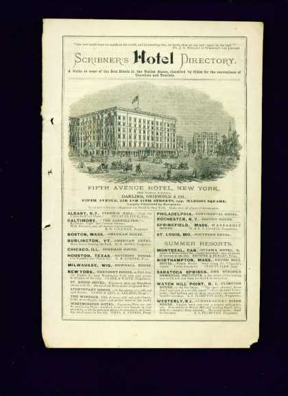 Very Rare Fifth Avenue Hotel New York (1874)
