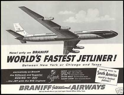 Braniff International Airways Airline 707 Plane (1960)