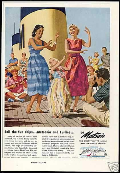 Matson Lines Cruise Ship Hawaii Hula (1958)