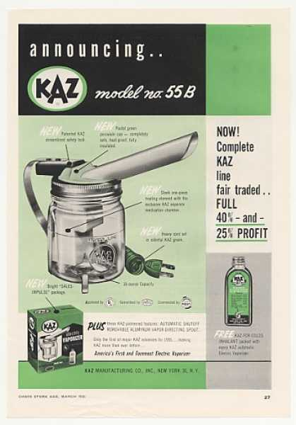 KAZ Model 55B Electric Vaporizer (1955)