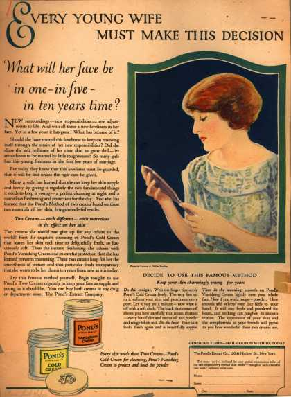 Pond's Extract Co.'s Pond's Cold Cream and Vanishing Cream – Every Young Wife Must Make This Decision. (1923)