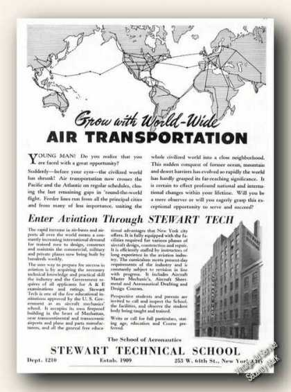 Stewart Technical School Ny Ad Airplanes (1939)