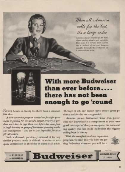 America Calls for the Best Budweiser Beer (1941)