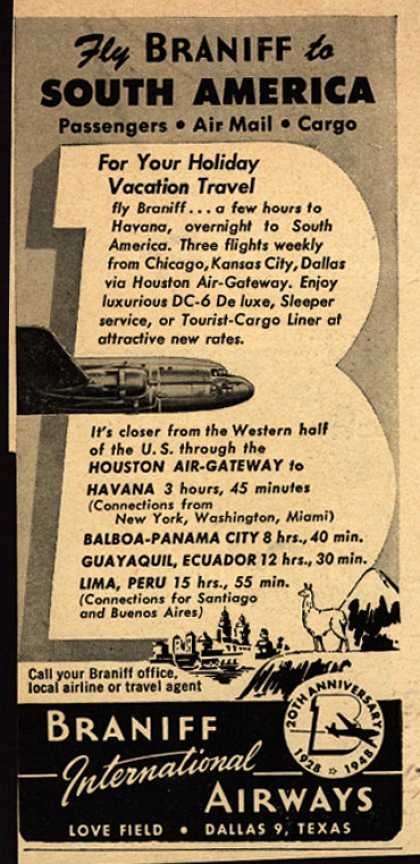 Braniff International Airway's South America – Fly Braniff to South America (1948)