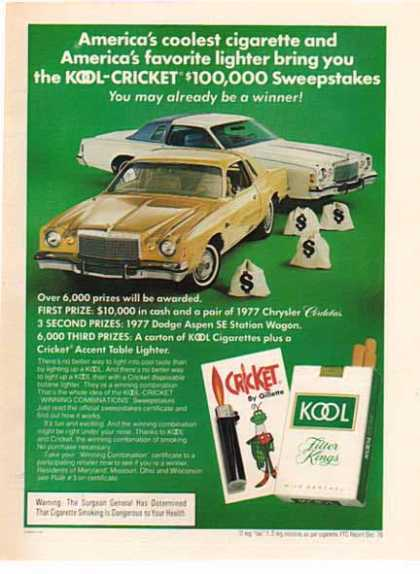 Chrysler Cordoba in a Kool Cigarette – 2 Cars White & Gold – Sold (1977)