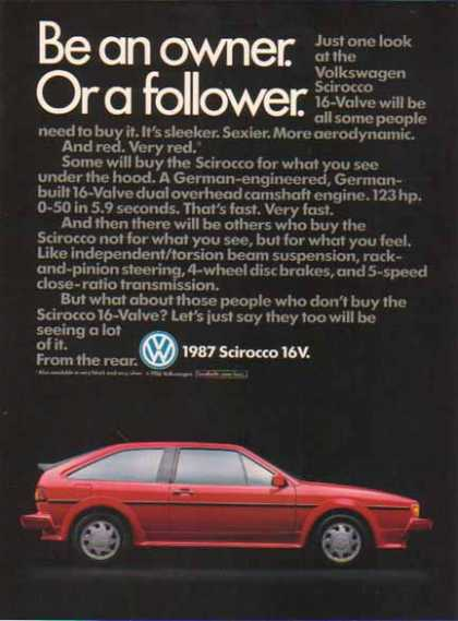 Volkswagen Sirocco Car – 16 Value Model – Red (1987)