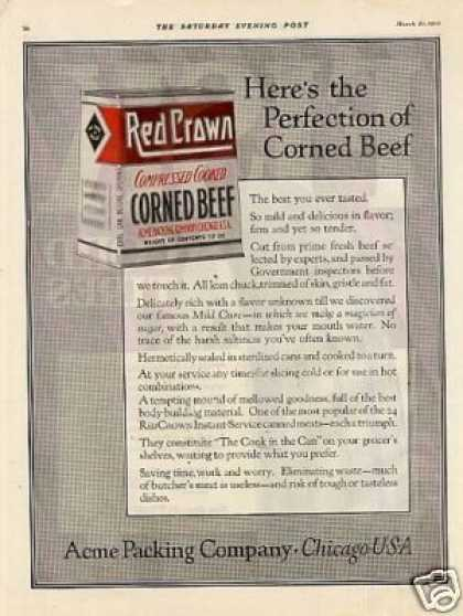 Red Crown Corned Beef Color (1920)