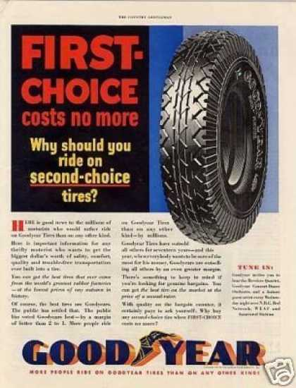 "Goodyear Tire Ad ""First Choice... (1932)"
