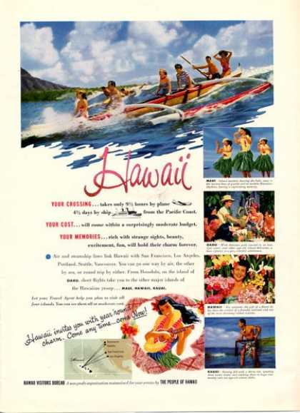 Hawaii Visitors Travel Outrigger Canoe (1952)