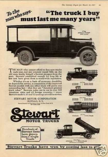 "Stewart Trucks Ad ""The Truck I Buy... (1927)"