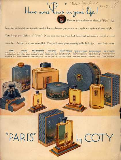 "Coty's Paris Perfumes and other products – Have more ""Paris"" in your life (1938)"