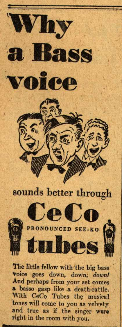 CeCo Manufacturing Company's Radio Tubes – What a Bass voice sounds better (1929)