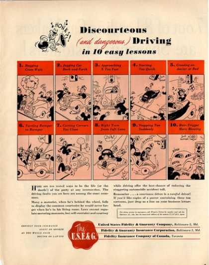 Usf&g Discourteos Driving 10 Lessons Comic Art (1950)