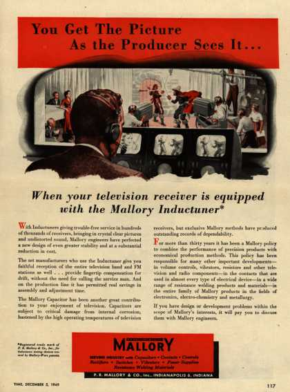 P.R. Mallory & Co.'s Mallory Inductuner – You Get The Picture As the Producer Sees It... When your television receiver is equipped with the Mallory Inductuner (1949)